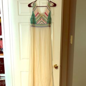 Boho style cream/print maxi dress